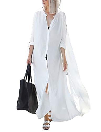 Ailunsnika Women Sexy White Long Shirt Swimsuit Cover Up Plus Size See Through Kimono Cardigan with Button