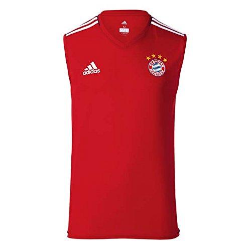 Adidas Sleeveless Jersey - adidas 2017-2018 Bayern Munich Sleeveless Football Soccer T-Shirt Jersey (Red)