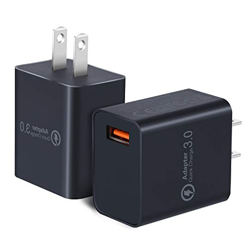 Quick Charge 3.0 Wall Charger, OKRAY 2 Pack 18W Fast Charging USB Wall Charger Power Adapter USB Plug Compatible 10W Wireless Charger, iPad Pro, Tablets, iPhone, Samsung Galaxy, LG, HTC (Black Black)