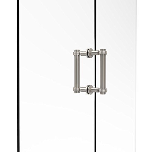 Allied Brass 404G-6BB-SN Contemporary 6 Inch Back Shower Door Pull with Grooved Accent, Satin Nickel ()
