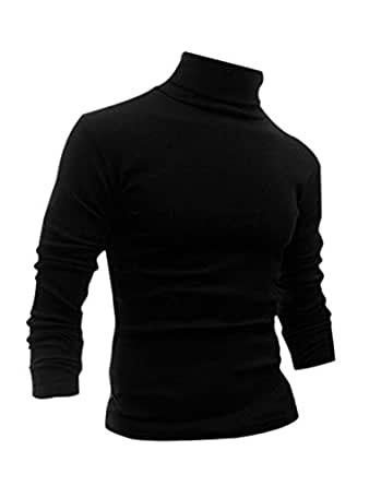uxcell Man Long Sleeve Turtle Neck Slim Fit Casual T-Shirt Black S US 34