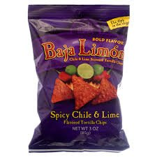 El Sabroso Baja Limon Chile & Lime Flavored Tortilla Chips 3oz bags (3 pack)