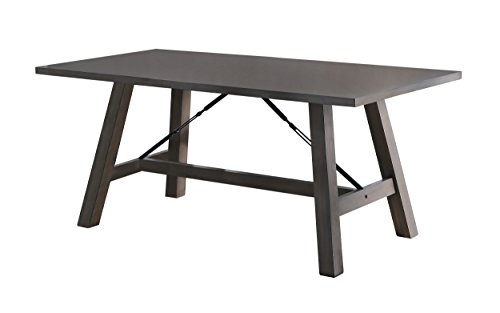 Homelegance Seaford Dining Table Industrial Style, Gray - Industrial style dining table (model# 5510-66) features space saving design V-matched veneer finish is complemented with brownish gray tone highlighting the wood grain surface High quality design features durable rubber wood construction - kitchen-dining-room-furniture, kitchen-dining-room, kitchen-dining-room-tables - 31ywWsCdkfL -