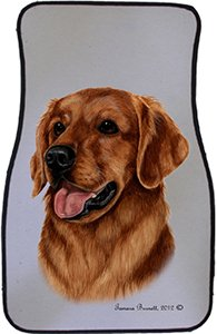 Red Golden Retriever Car Floor Mats - Carepeted All Weather Universal Fit for Cars & Trucks by Unknown