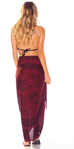 Your Celtic para Pattern en Deep Burgundy mujeres de Sarongs mundo Unicorn 1 color Choice Sarong tqPAdwt