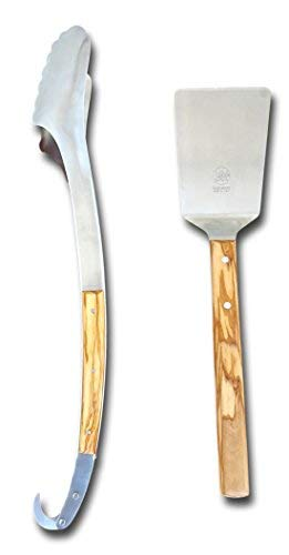 Due Buoi BBQ Set 2 pcs: 19 inch Long Tong, 4 inch Wide and 16 inch Long Spatula. Made in Hardened Stainless Steel and Olive Wood Handled. Tongs with usefull Hook for Hanging it. Ergonomic Shape.