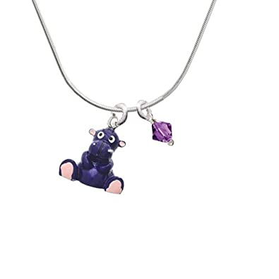 Bicone Crystal Necklace Delight Jewelry Resin Purple Hippopotamus Honey 18