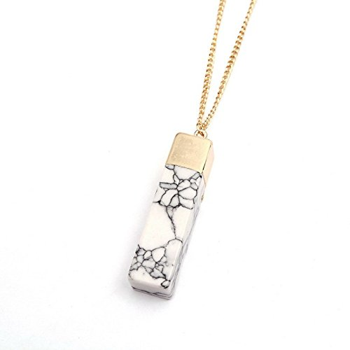 Geometric Faux Marbled Stone Pendant Necklace for Women Gold Plated Irregular Natural Turquoise White