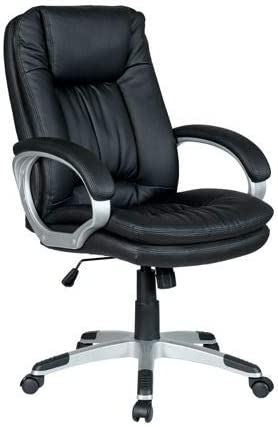 Halter Modern Reclining PU Leather Office Chair, Padded Armrest, Adjustable Height, Smooth-Rolling Caster Wheels Black 2