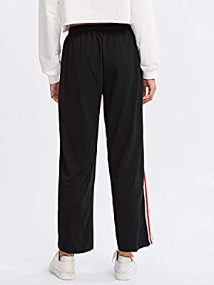 Women's Active Drawstring Waist Striped Side Jogger Sweatpants with Pockets Lounge Trousers
