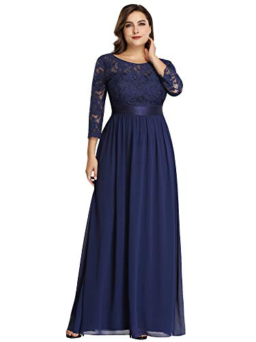 Ever-Pretty Womens Ruched Satin Waist Elegant Long Chiffon Bridesmaid Dresses Navy Blue US 14