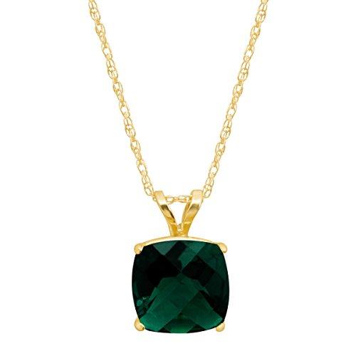 1 1/2 ct Created Emerald Cushion-Cut Birthstone