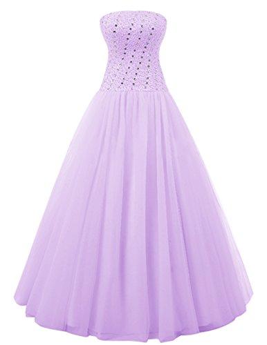 Dresstells®Vestido Largo Princesa de Tul con Lazo vestido de novia Lavanda