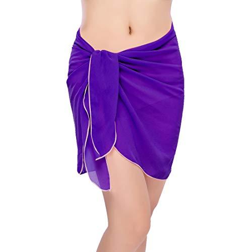 Sythyee Women's Sarong Wrap Beach Swimwear Chiffon Cover Up Short Pareo Bikini Swimsuit Wrap Skirt Bathing Suit Chiffon Purple