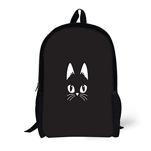 Pinbeam Backpack Travel Daypack Face Simple Cartoon Cat on Halloween Head Black Waterproof School Bag