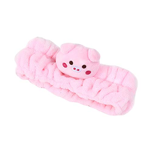 Danyerst Women Girls Thicken Pleated Wide Headband Cute 3D Pig Rabbit Panda Animal Embroidered Hairband Face Mask Makeup ()