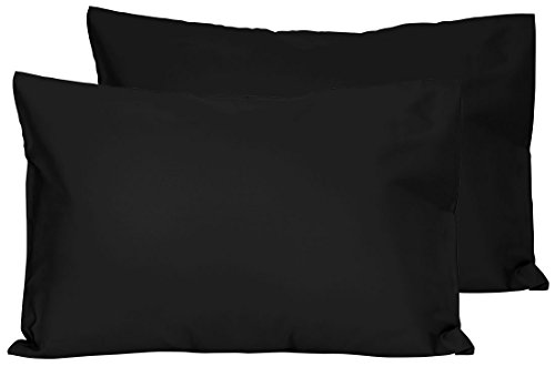 2 Black Toddler Pillowcases - Envelope Style - for Pillows Sized 13x18 and 14x19-100% Cotton with Percale Weave - Machine Washable - 2 Pack