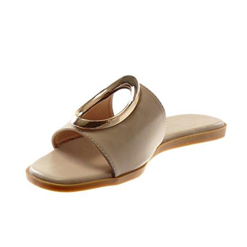 Angkorly Damen Schuhe Sandalen Mule - Slip-On - Perforiert - Golden Flache Ferse 1 cm Beige