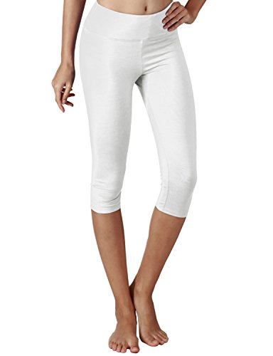 Yogareflex Women's Tummy Control Active Tights Yoga Running Leggings Capris , White , Medium
