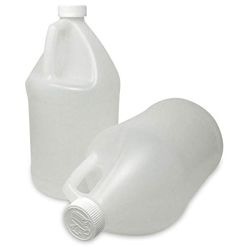 CSBD 1 Gallon Plastic Jugs with Child Resistant Lids, BPA Free, HDPE Plastic, Residential and Commercial Uses, Made in USA, 2 Pack (1 Gallon)