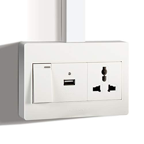 FUTINA Surface Mount Electrical Outlet Box, High Speed USB Charger Outlet with Wall Plates &Screw for Cable Raceway,15A Receptacle, Child Proof Safety,White (with switch)