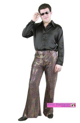(Size Sm (36-38) Long Sleeve Black Costume Shirt - Mac Daddy, 70s OR Disco Shirt (ONLY SHIRT))