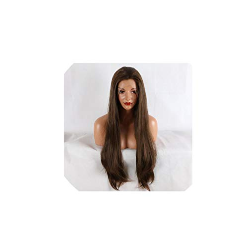 180% Density Women 26 Inches Lace Front Wig Natural Brown Straight Heat Resistant Synthetic Hair Costume Wigs,Lace Front,26inches