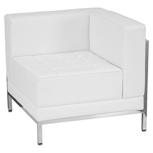 Flash Furniture HERCULES Imagination Series Contemporary Melrose White Leather Right Corner Chair with Encasing Frame Right Corner Chair