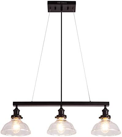 YIFI Deco Pendant Light Farmhouse Industrial Light Glass Adjustable Three Light Fixture Hanging Pendant Light for Kitchen Island Bedroom Living Room Dining Room, Clear