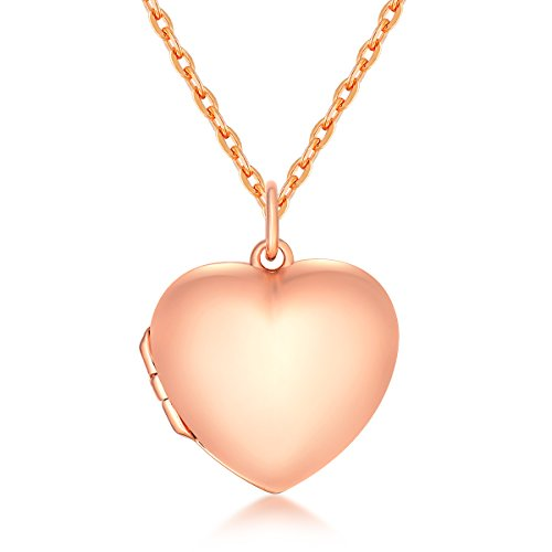- IXIQI Locket 9ct Rose Gold Plated Heart Infinity Love Locket Necklace ,45cm Chain (bianti-rose3)