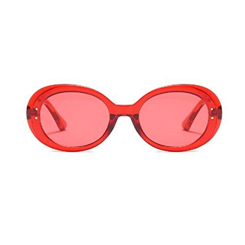 Lens Eyewear Yefree Frame Unisex Vintage Oval Retro Mode Oversized Round Rojo Sunglasses qZwzvqr