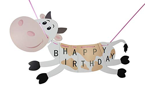 Cow Happy Birthday Bunting Banner Cartoon Farm Animal Themed Flag for Kids Toddler Birthday Party Decorations - Large Size -