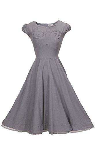 Vienna Summer Women's Romantic Modest Swing Vintage Party Dress, Gray 5XL