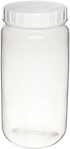 Nalgene 2101-2200 FEP Wide Mouth EP Tox/TCLP Bottle with PFA Lined White Polypropylene Screw Type Closure, 2.2L Capacity (Case of 2) (Fep Bottles)