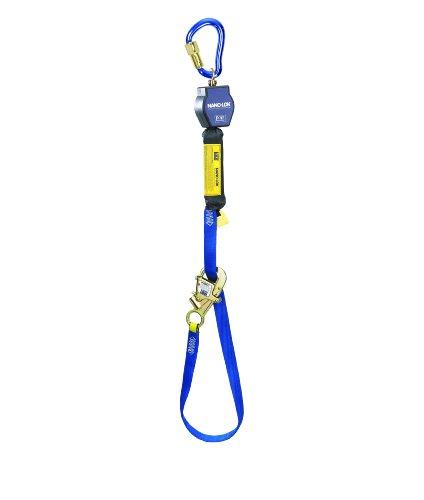 3M DBI-SALA Nano-Lok 3101365 Tie Back Self Retracting Lifeline, 9', 3/4'' Dynema Polyester Web, Tie-Back Hook, Swiveling Anchor Loop w/Alum Carabiner, Blue by 3M Fall Protection Business (Image #1)