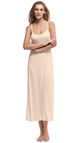 Papicutew Women's Long Full Cami Slip Dress Sleeveless Nightgowns (Nude, (Cotton Slip Full Slip)