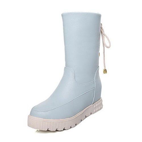 AllhqFashion Womens Round Closed Toe Low-top Kitten-Heels Solid PU Boots Blue Uvm6r