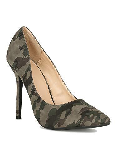 Alrisco Women Leatherette Pointy Toe Stiletto Pump RI35 - Camouflage (Size: 10)