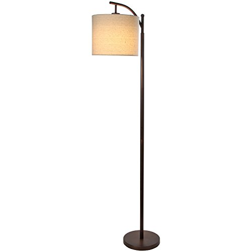 Brightech Montage LED Floor Lamp - Noir Stem with Oatmeal Hue Drum Shade - Industrial Tall Standing Lamp for Living Room or Bedroom - Includes Energy Saving 9.5 Watt LED Light Bulb - Oil Rubbed (Floor Lamps)