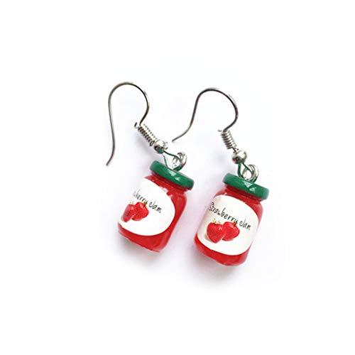 Women 3D Mini Fruit Jam Bottle Earrings Funny Simulated Bottle Ear Hook Ladies Piercing Eardrop