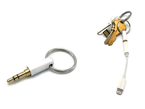 Mp3 Dj Components (iPhone Lightning Adapter Keyring/Keychain - Lightning To 3.5mm Headphone Dongle Holder - White - For iPhone X, iPhone 8, iPhone 8 Plus, iPhone 7, iPhone 7 Plus)