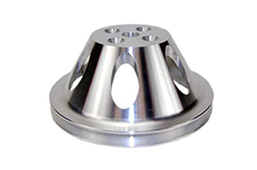 Pirate Mfg SBC Chevy 283-350 Machined Aluminum SWP Single Groove Water Pump Pulley (Aluminum Chevy Pulley)
