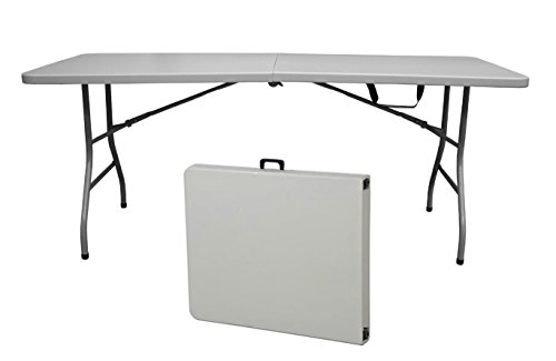 a Snap - 6 Foot 400 lb Capacity Center Folding Table w/Fitted Cover, Black ()
