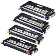 Combo Pack Dell Laser Printer 3130cn Toner Cartridge - 1 of B, C, M, Y (High Yield, 9K) Remanufactured - Spot Combo Pack
