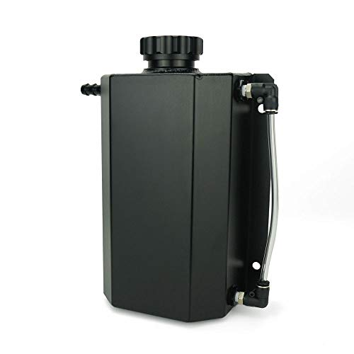 Soosee JDM Universal 2L Coolant Radiator Overflow Recovery Water Tank Reservoir Bottle Polished Aluminum Black