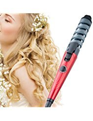 Curling Iron Anti-scalded Curling wand Spiral Hair Curler with Ceramic Coating (Ferrari Red)