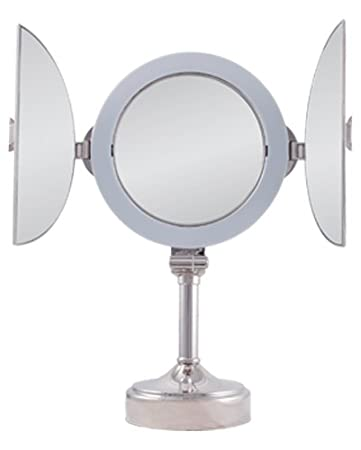 Zadro Lighted Makeup Mirror.Zadro Polished Nickel Surround Light Dimmable Dual Sided Tri Fold Vanity Mirror 10x 1x Magnification