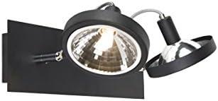 QAZQA Modern Design Spot/Spotlight/Deckenspot/Deckenstrahler/Strahler/Lampe/Leuchte schwarz 2-flammig-flammig verstellbar - Nox/Innenbeleuchtung/Wohnzimmerlampe/Schlafzimmer/Küche