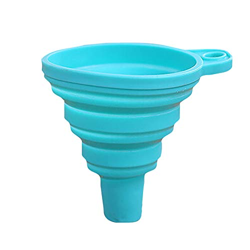 Maikouhai Silicone Gel Practical Collapsible Foldable Funnel Hopper Kitchen Tool Gadget for Home Oil Water Vinegar Funnel for Household Liquid Dispensing Dispenser Kitchen Tool (Sky Blue)