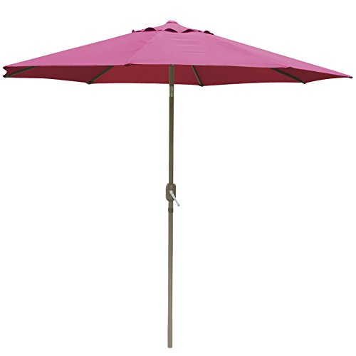 Yaheetech Outdoor Patio Umbrella 45 Degree Tilt, UV Protection Great for Garden, Pool Side, Beach, Hotel etc. (Burgundy 10ft)